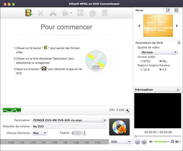 Xilisoft MPEG en DVD Convertisseur pour Mac