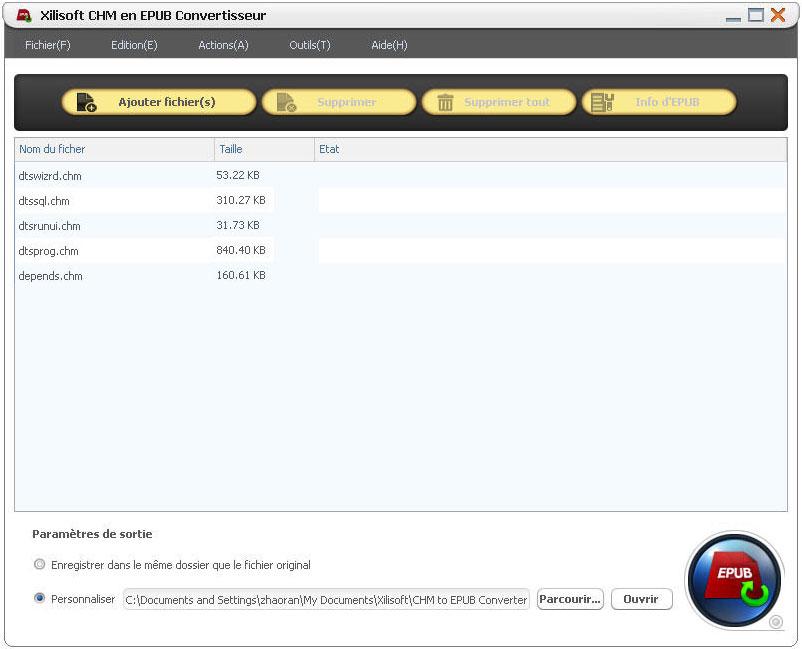 Xilisoft CHM en EPUB Convertisseur